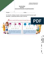 Guía de trabajo 6to sumas restar igual denominador