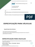 Casa das Válvulas _ Informações Técnicas _ Especificação Para Válvulas