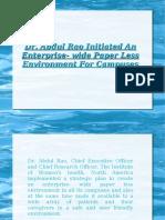 Dr. Abdul Rao Initiated An Enterprise