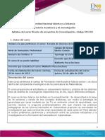 Syllabus del curso_Diseño de proyectos de Investigación