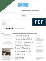 Revelan la lista negra del pedófilo Epstein - Lista completa