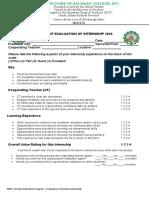 student intern evaluation schecklist