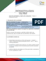 Guia de actividades y Rúbrica de evaluación - Unidad 1 - Tarea 2 - Producción Escrita