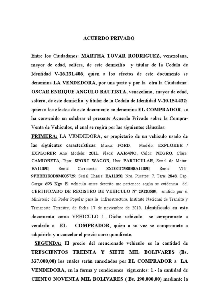 Acuerdo privado compra venta vehiculo for Clausula suelo firma acuerdo privado