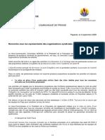 2020-09-02_CP ETAT-PAYS_Rencontre Avec Partenaires Sociaux