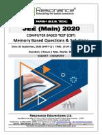 JEE Main 2020 April-September Attempt Shift - 1 (03rd September, 2020) Chemistry