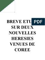 DEUX NOUVELLES HERESIES VENUES DE COREE