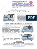 PCT Regular Reciprocating AIr Compressors Two -three  Stage