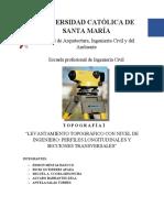 Informe sobre levantamiento topografico con nivel de ingeniero, perfil longitudinal y secciones tranversales - G2 (2)