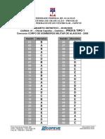 COPEVE Gabarito Definitivo da Segunda Prova BM AL 2006