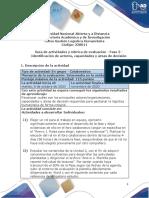 Guía de actividades y rúbrica de evaluación - Unidad 2 - Fase 3 - Identificación de actores, capacidades y áreas de decisión