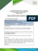 Guía de actividades y rúbrica de evaluación - Unidad 2 – Tarea - 3 - Analizar artíiculos cientíificos y desarrollar matriz