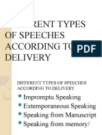 DIFFERENT TYPES OF SPEECHES ACCORDING TO DELIVERY