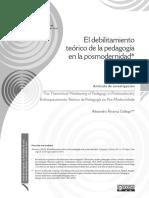El debilitamiento teórico de la pedagogía en la posmodernidad