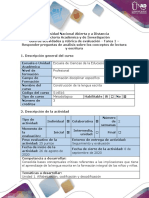Guía de Actividades y Rúbrica de Evaluación - Tarea 1 - Responder Preguntas de Análisis Sobre Los Conceptos de Lectura y Escritura (