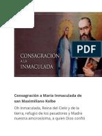 Consagración a María Inmaculada de san Maximiliano Kolbe
