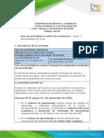 Guia de actividades y Rúbrica de evaluación - Tarea 1 - Generalidades del curso