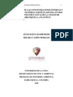Evaluación de las concentraciones internas y externas de material particulado PM2.5 en dos instituciones educativas de la ciudad de Barranquilla