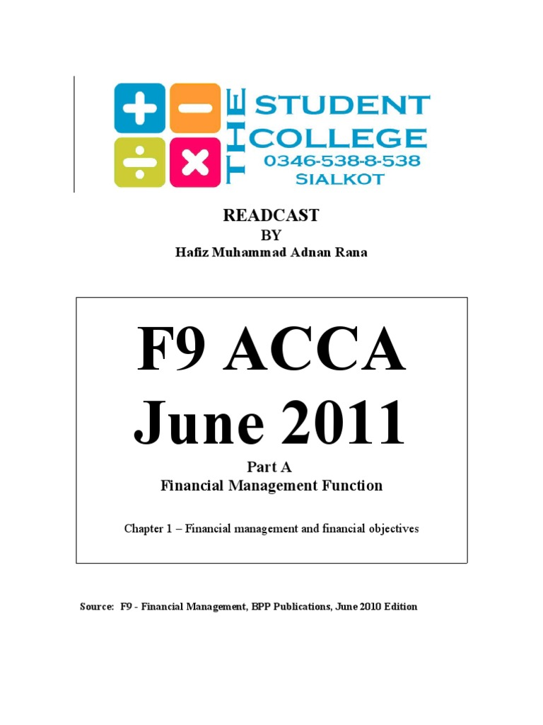 acca notes f9 allowing Bpp pass card of financial management (paper-f9) of skills level of acca (the association of chartered certified accountants) under uk syllabus examination-20.