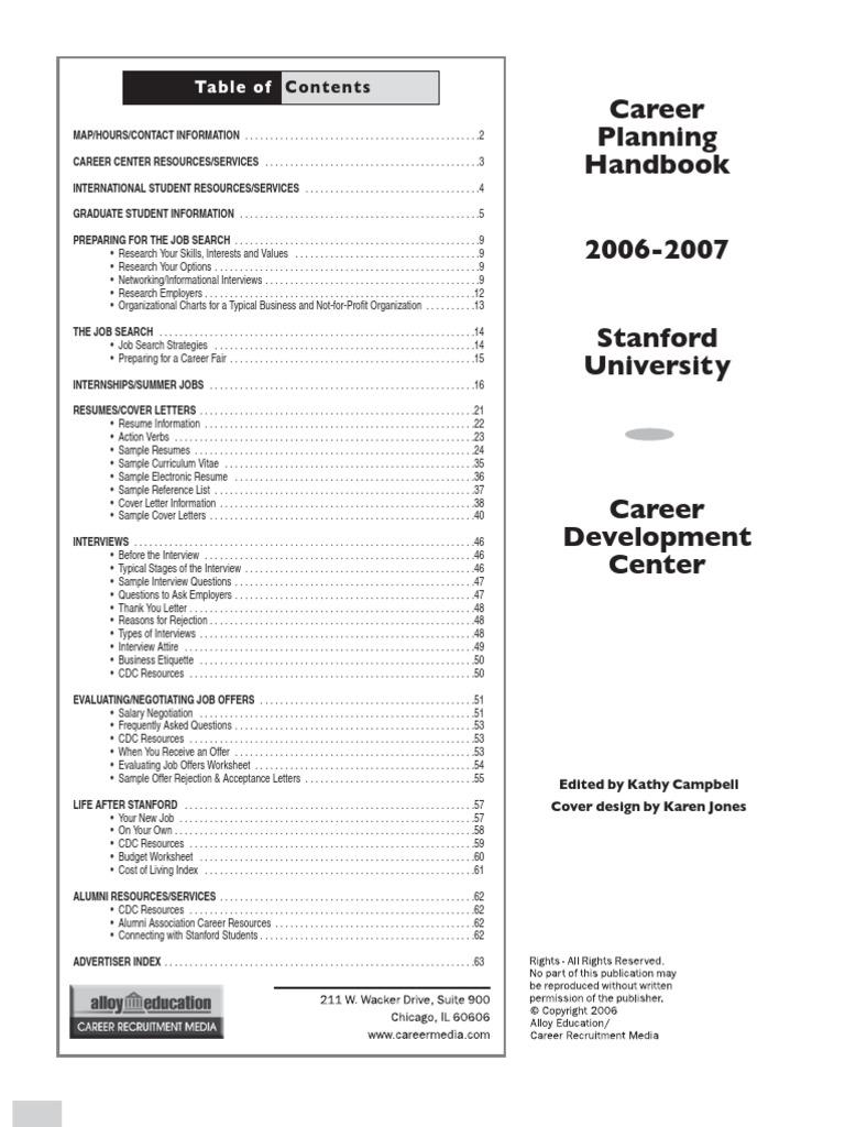 Career Planning Handbook: Ta ble of