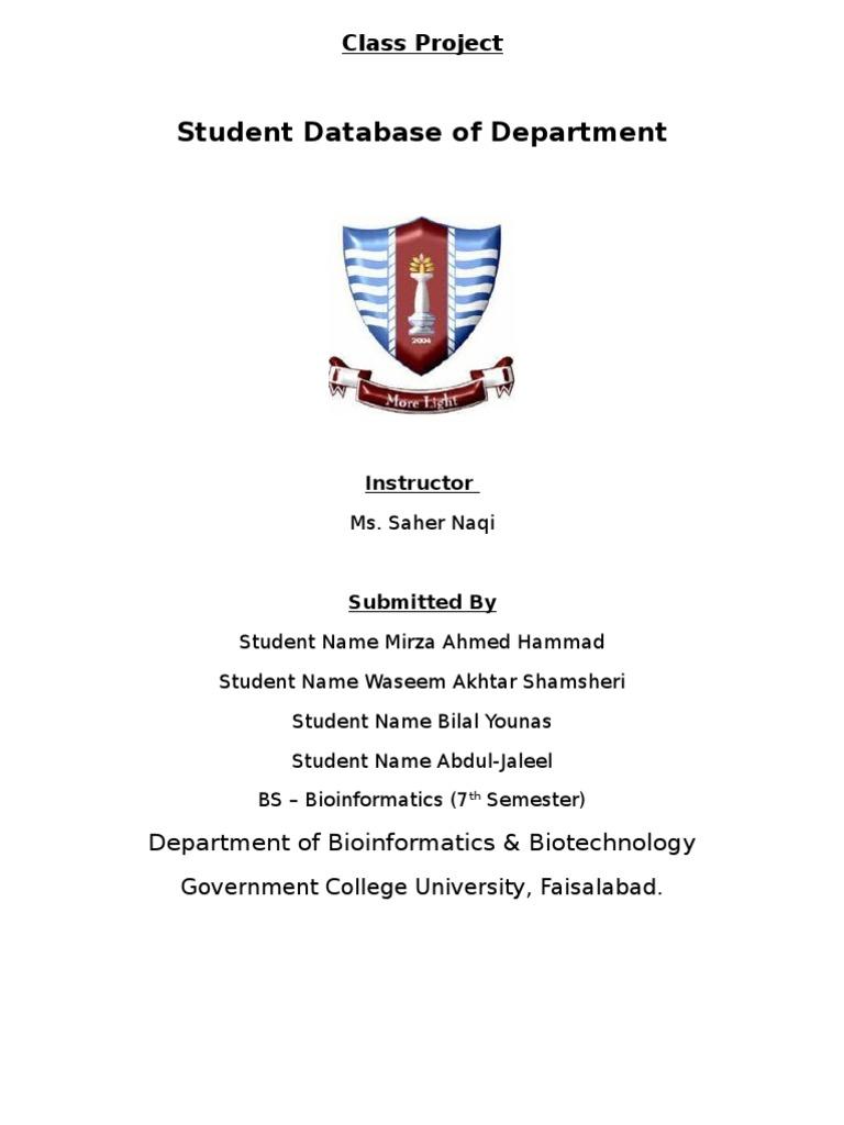 Department Database | Information Science | Databases