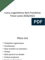 Planu Engenheiros Sem Fronteiras Timor-Leste ba tinan 2020-2021