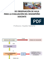 RÚBRICAS DE OBSERVACIÓN DE AULA PARA LA EVALUACIÓN