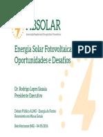 Energia Solar Fotovoltaica - Oportunidades e Desafios
