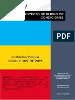 PROYECTO PLIEGO DE CONDICIONES - ICCU LP 027 2019 - LEY 21