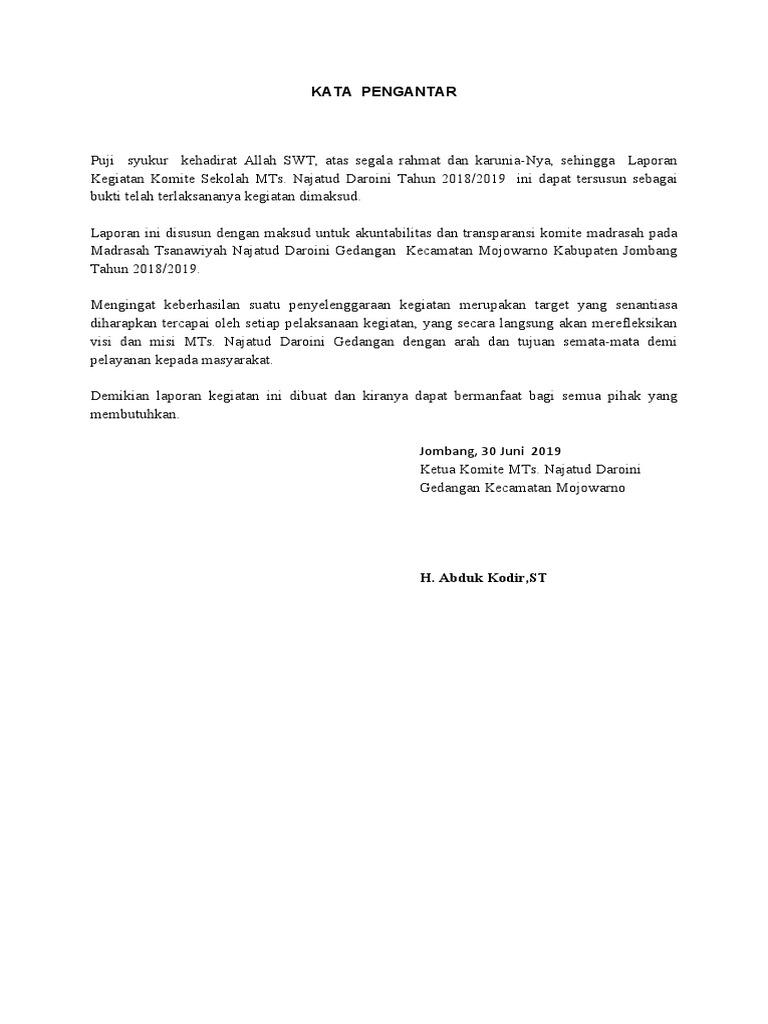 Laporan Kegiatan Komite Madrasah Docx