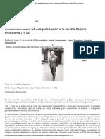 Entrevista inédita de Jacques Lacan a la revista italiana Panorama (1974) _ Punta Lacaniana