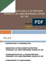 IMPORTANCE DE LA NUTRITION DURANT LES 1000 PREMIERS JOURS DE VIE