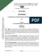 Ley N° 4.251/10 de Lenguas Del Paraguay