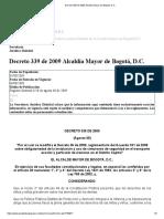 Decreto 339 de 2009 Alcaldía Mayor de Bogotá, D.C_