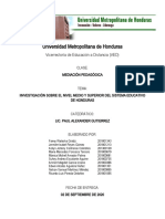 INVESTIGACION NIVEL MEDIO Y SUPERIOR EN HONDURAS