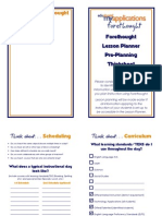 Eduphoria Forethought Thinksheet