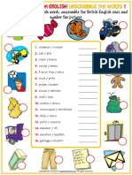 American British English vocabulary esl unscramble the words worksheets for kids