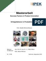 Masterarbeit Success Factors in Product Innovation