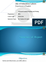 Academic reading & Writing- Structure of Report