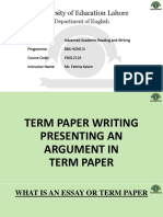 Academic reading & Writing - TERM PAPER WRITING