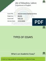 Academic reading & Writing - Types of Essay