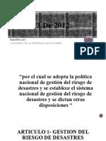 Ley 1523 De 2012
