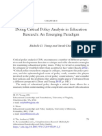 Doing Critical Policy Analysis in Education Research- An Emerging Paradigm