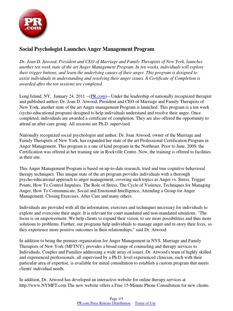 Social psychologist launches anger management program family social psychologist launches anger management program family therapy psychotherapy 1betcityfo Choice Image