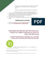 CRITERIOS DE PROMOCIÓN ESTUDIANTIL COMO FACTORES CONEXOS AL ÉXITO O FRACASO ESCOLAR.docx