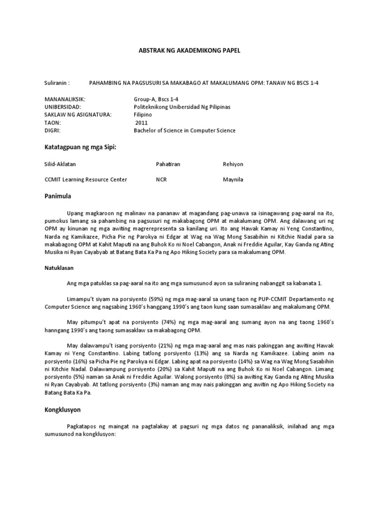 abstrak thesis sa filipino