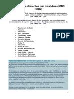 Lista de los alimentos que invalidan el CDS