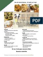 Menu de La Cuisine de Meme Moniq Du 29 Aout Au 4 Septembre