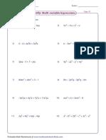 Manipulation of Algebraic Expressions 2