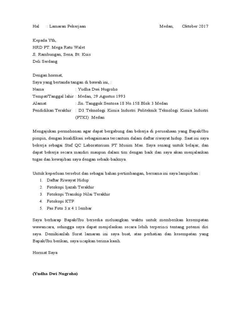 Surat Lamaran Kerja Mega Ratu Walet